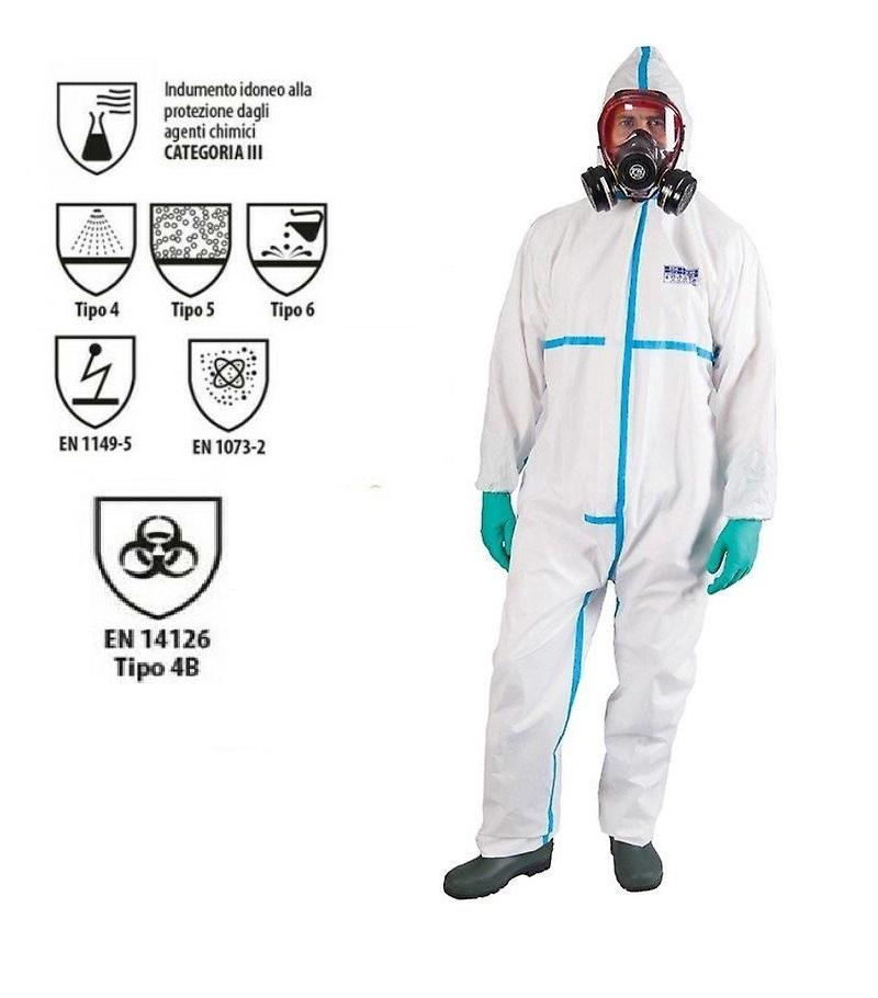 Tuta protettiva anti COVID certificata CE EN14126 tape azzurro