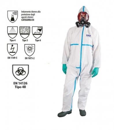 Tuta protettiva anti COVID certificata CE EN14126 tape azzurro Tute protettive