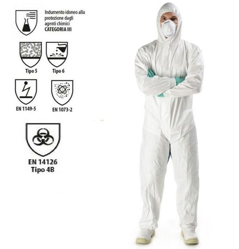 Tuta protettiva anti COVID certificata CE EN14126 bianca