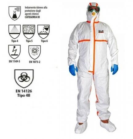 Tuta protettiva anti COVID certificata CE EN14126 tape arancio Tute protettive