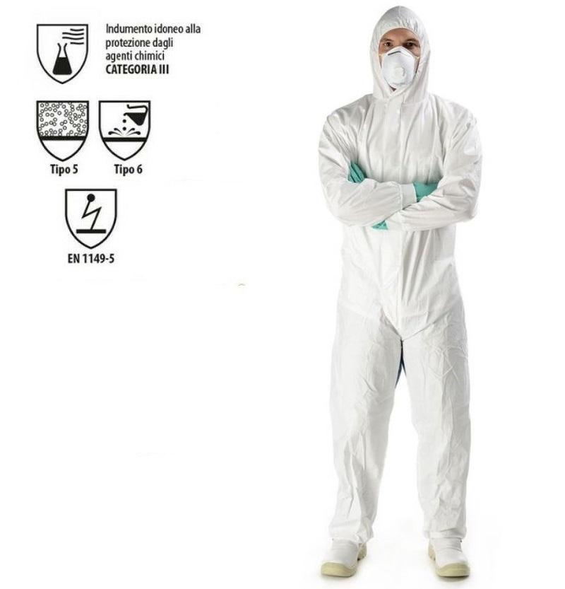 Tuta protettiva CAT 3 Type 5/6 a contenimento biologico