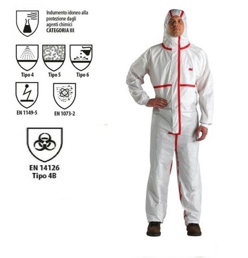 Tuta protettiva anti COVID certificata CE EN14126 tape rosso
