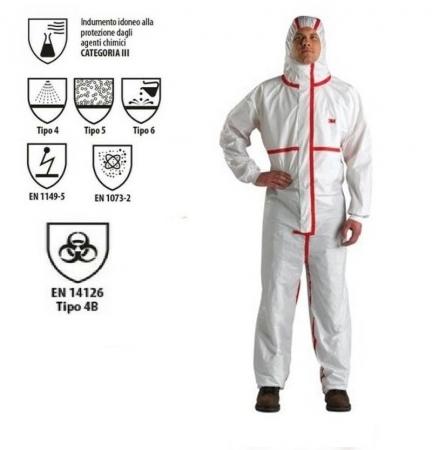 Tuta protettiva anti COVID certificata CE EN14126 tape rosso Tute protettive